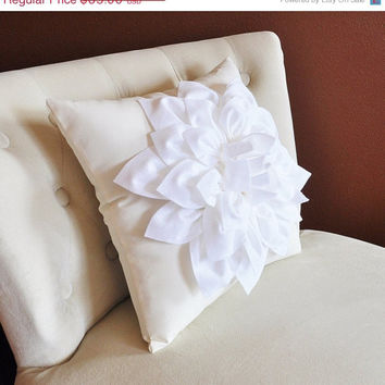 MOTHERS DAY SALE White Dahlia Flower on Ivory Pillow Accent Pillow Throw Pillow Toss Pillow