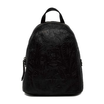 AMERICAN LEATHER CO. Women's Black Floral Knoxville Leather Backpack