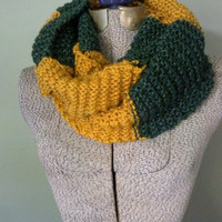 Green and Gold Long Scarf, Green Bay Packers Inspired Knit Scarf, Hand Knit Team Spirit Scarf