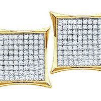 Diamond Ladies Micro-pave Fashion Earrings in 14k Gold 0.5 ctw