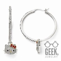 Sterling Silver Hello Kitty Crystal Red Bow Collection Hoop Earrings