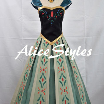 Disney Frozen Princess Anna Costume, Anna Coronation Cosplay Party Dress Custom Made to order