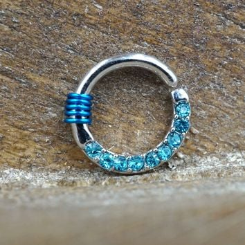 Light Blue Crystal Lined Hoop Septum Rook Daith Helix 16 Gauge