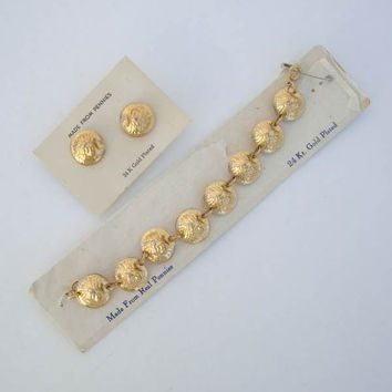 24K Gold Plated Indian Penny Coin Bracelet Earring SET Pressed Concave Vintage Jewelry