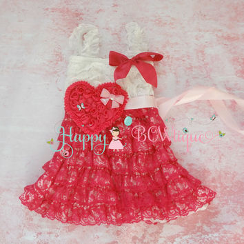 Hot Pink Shabby Heart Lace Dress, Valentines dress, red Dress,baby dress,Birthday outfit,girls dress,wedding,baby girls dress,Valentines