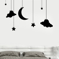 Wall Vinyl Nursery Kids Children Room Clouds And Stars Decor Unique Gift z3680