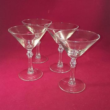 Martini Glasses With Faceted Stem