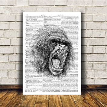 Gorilla poster Animal art Ape print Modern decor RTA195