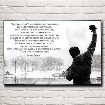 More Rocky Balboa Boxing Motivational Quoted Silk Fabric Poster