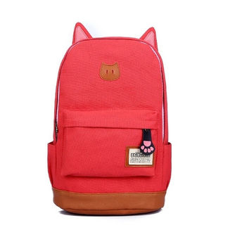 Cute Cat-ears Style Canvas Backpack Girls School Bag 10 Colors = 1930082500