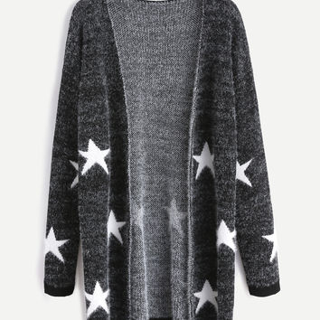Black Star Pattern Long Sweater Coat