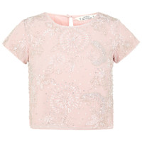 Petites Pink Embellished Tee - Tops - Clothing