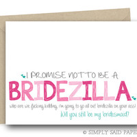 Funny Bridesmaid Proposal - I Promise not to be a Bridezilla -  Wedding Notecard, Funny Bridesmaid Card, Will You Be My, Bridesmaid Ask Card