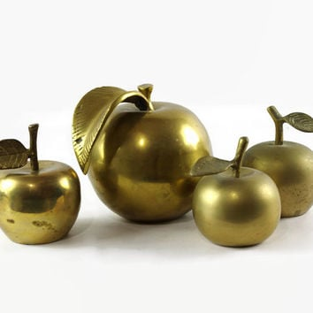 Vintage Brass Apple Collection, Brass Apple Bell, Brass Paperweight, Back To School, Teacher Gift