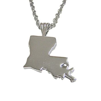 Louisiana State Map Shape Pendant Necklace