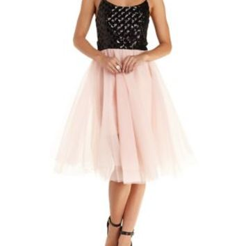 Black Combo Trixxi Tulle & Sequin Skater Dress by Charlotte Russe
