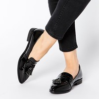 Daisy Street Black Patent Tassel Flat Loafer Shoes