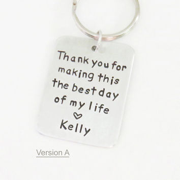 Gift from bride Gift from groom - Mother of the bride gift - Father of the bride gift- Maid of honor gift - keychain (Also available w date)
