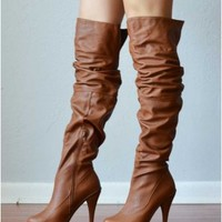 Wild Diva Charlotte 01 Whisky Cuff Thigh High Boot
