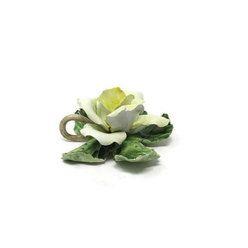 Vintage Yellow Rose Figurine Candle Holder / Ceramiche Artistiche Porcelain / Mother's Day Gift Idea / Gift Idea for her / Made in Italy