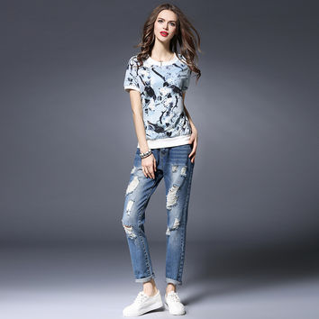 New Fashion Summer Women's T-Shirts Vintage Floral Bird Printing Lady T Shits Style O-Neck Short Sleeve Casual T-Shirts