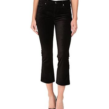 7 For All Mankind Cropped Boot in Black Velvet