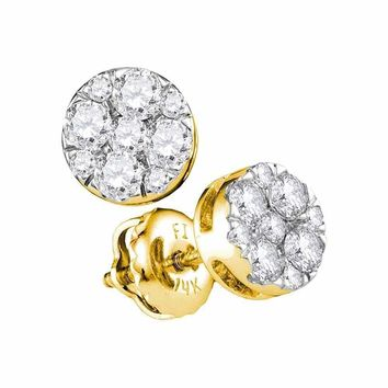 14kt Yellow Gold Women's Round Diamond Flower Cluster Stud Earrings 1-2 Cttw - FREE Shipping (USA/CAN)