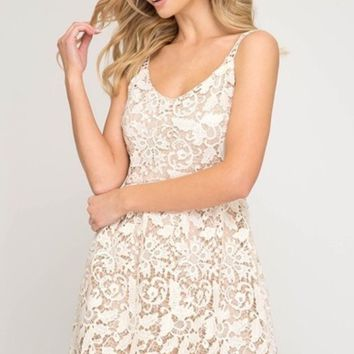 Cream Crochet Lace Fit & Flare Dress