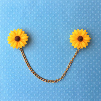 "Handmade ""Sunflower Sweetie"" Large Sunflower Sweater/Collar Pins Clips with Gold Chain"