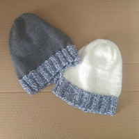 Womens Blue and White Rim Knit Winter Hat in Grey or White