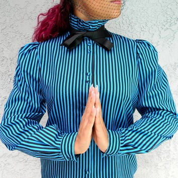Vintage Pussy Bow Blouse - 80s Secretary Top by Blouseworks w Black Ribbon Bow, Striped Turquoise and Black Fabric, Size 8 10 M Medium