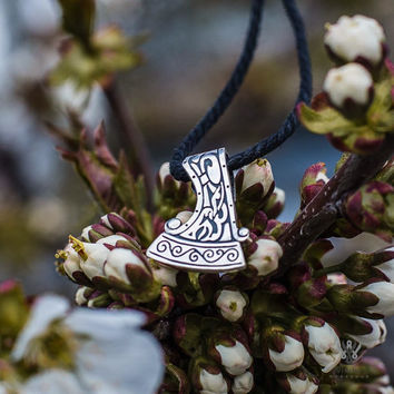 Perun's Warrior Axe Necklace Slavic Jewelry Small Sterling Silver Pendant (Reconstruction)