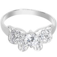 925 Sterling Silver Clear CZ Floating Butterfly Ring - Size 7 | Body Candy Body Jewelry