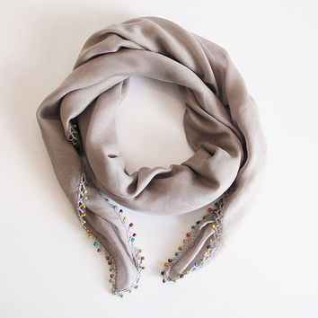 Gray Scarf, beaded scarf, scarves, handmade Scarf, women scarf, fashion, women accessories, gift ideas,  for her, head scarf, christmas gift