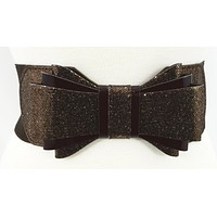 Vintage Pin-up Glitter Bow Accent Elastic Wide Stretch Waist Belt