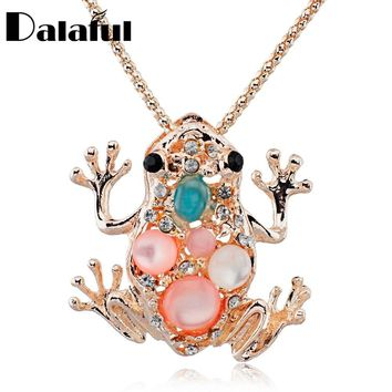 Hottest Auspicious Lucky Frog Toad Crystal Sweater Chain Long Chain Animal  Pendant Necklace Jewelry X505