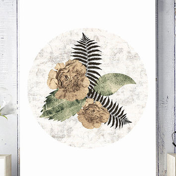 floral collage print, floral wall art, scandinavian print, wall art printable, modern print, wall decor print, printable art, home decor art