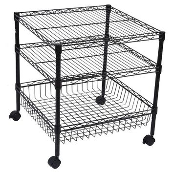 Room Essentials Refrigerator Wire Cart - 2 Shelves and 1 Basket - Black