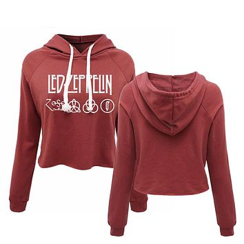 Led Zeppelin - Runes Zoso rock band women's cropped hoodies heavy metal punk music band long sleeve pullovers sweatshirts