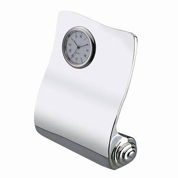 Personalized Free Engraving Silver Desk Scroll Clock