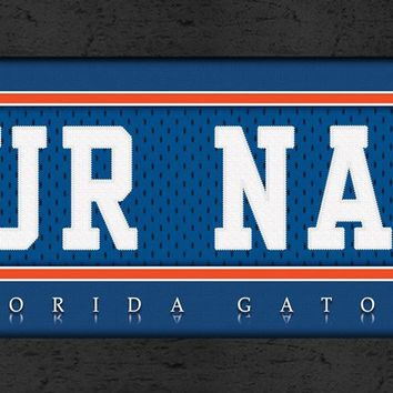 Florida Gators | Jersey Stitch | Personalized | Nameplate Print | Framed
