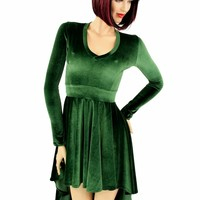 Green Velvet Hi Lo Skater Dress
