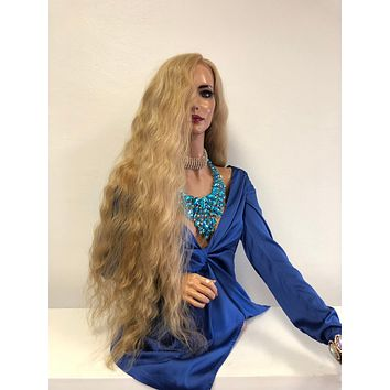 """Blond Swiss Lace Front Wig 30"""" 1218 1"""