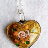 Lampwork glass heart pendant necklace on silver chain