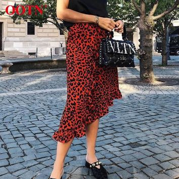 OOTN Leopard Long Skirt Women High Waist Midi Skirt Female Office Ruffle Animal Print Skirts Womens Summer Red 2019 Casual