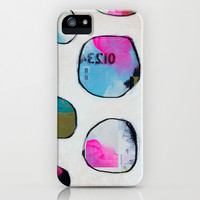 Circles (blue/neon) iPhone & iPod Case by Natalie Baca