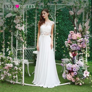 Fairy Long Chiffon Lace Prom Dress Cap Sleeves Two Pieces Ever Pretty XX48980PEB Elegant Round Neck Long Prom Party Dresses