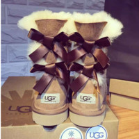 UGG:: bow leather boots boots in tubeb cute two bowknot Chestnut
