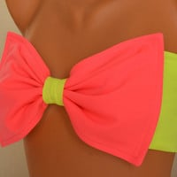 PADDED ...THINER BACK..Neon green and neon pink bow bandeau swimsuit bandeau bikini top with pads bow bikini top women's fashion