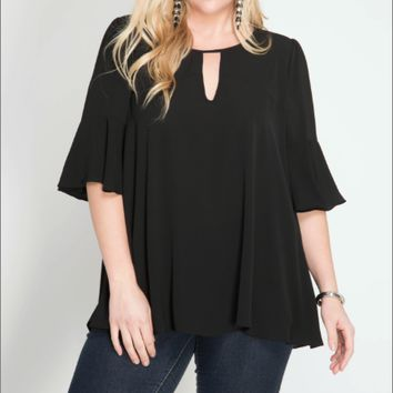 Women's Plus 3/4 Flare Sleeve Top with Neck Keyhole